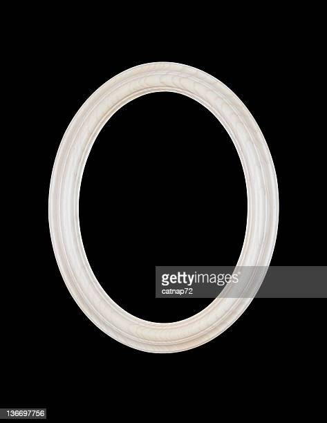 White Oval Picture Frame, Black Isolated