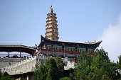 The White Pagoda, height 17 meters, a landmark in Lanzhou, on White pagoda mountain, a popular tourist destination. Lanzhou is the capital city of Gansu province, China