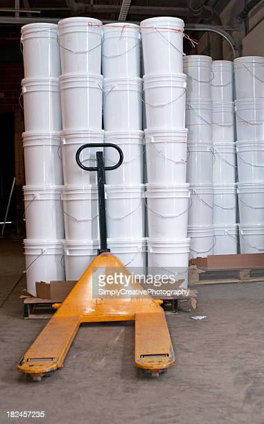 White Pails in Warehouse