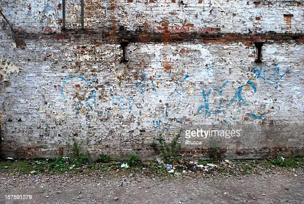 White paint graffiti brick wall texture