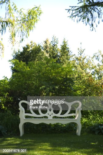 White painted bench by trees in garden : Stock Photo