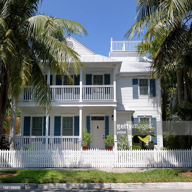 white painted wooden detached townhouse Key West Florida USA