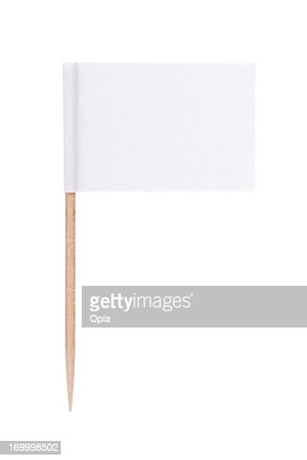 White paper flag with toothpick pole