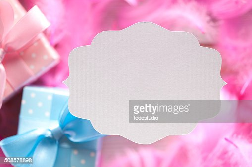 White paper label on colored background : Stock Photo