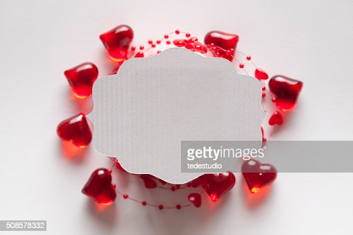 White paper label on red and white background : Stockfoto