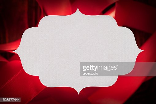 White paper label on red background : Stock Photo