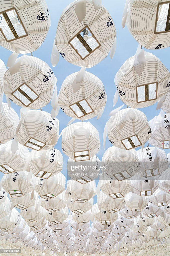 White paper lanterns viewed from below