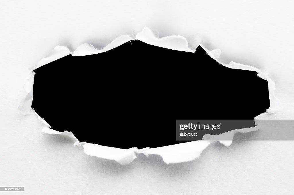 White paper ripped to create a black hole
