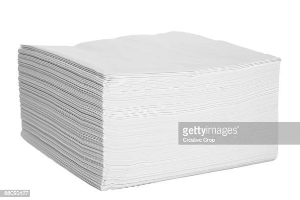 White paper serviettes / napkins stacked