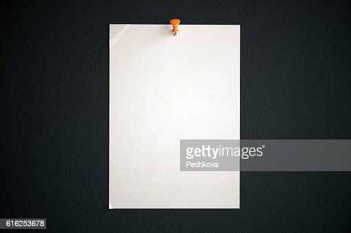 White paper sheet with pin : Stock Photo