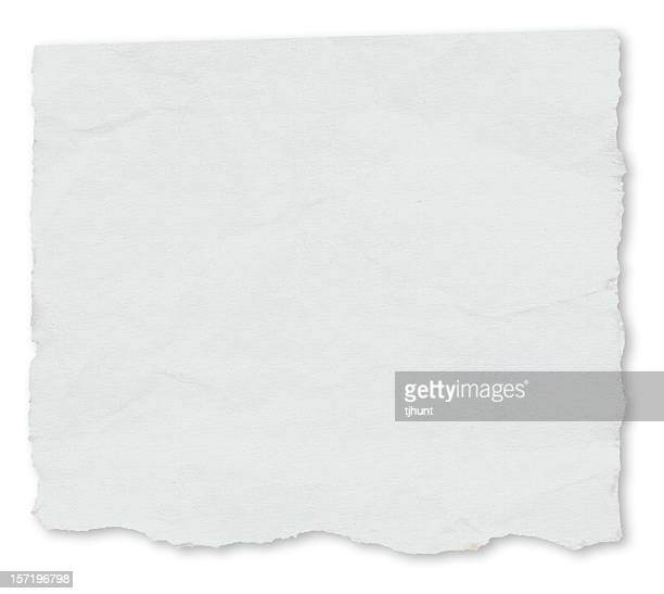 White paper torn on a white background