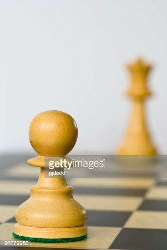 White Pawn and Queen (distant) on board
