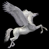 A magical white Pegasus spreads its wings and flies up into the sky.