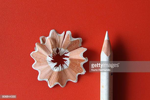White pencil and wood shaving
