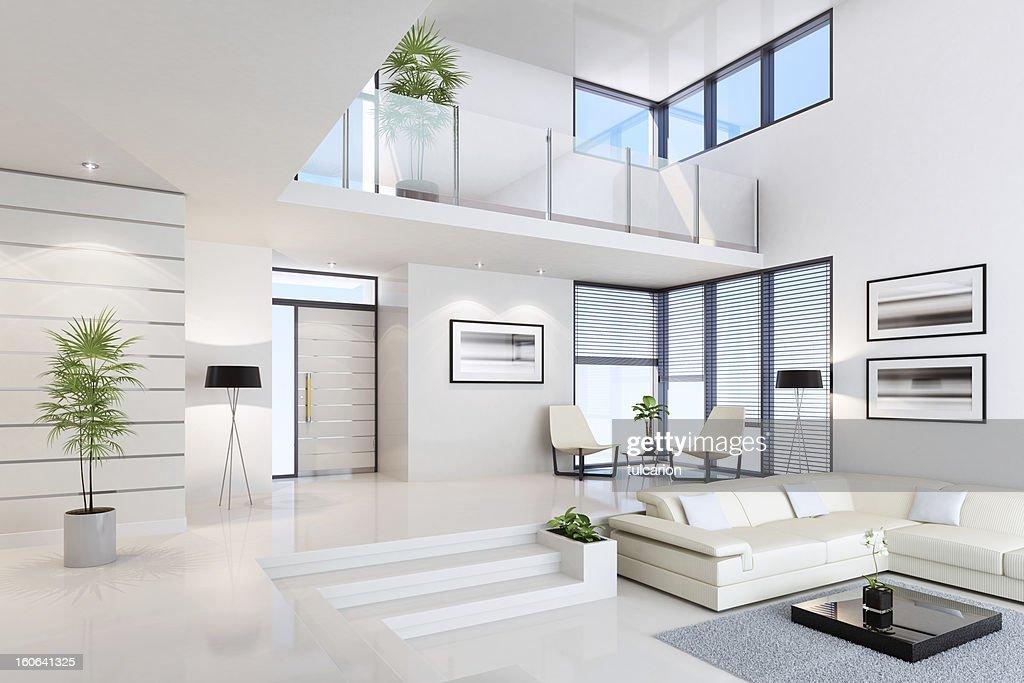 White Penthouse Interior : Stock Photo
