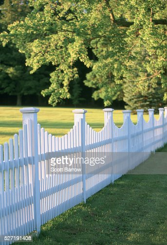 White picket fence : Stockfoto
