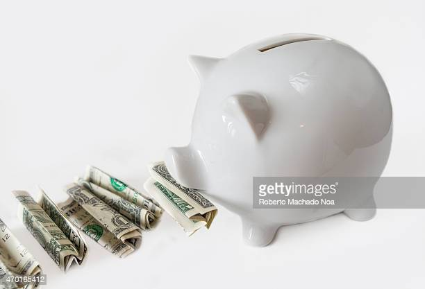 White piggy bank eating USA dollars one at a time financial concept saving one dollar at a time Image over white background not isolated
