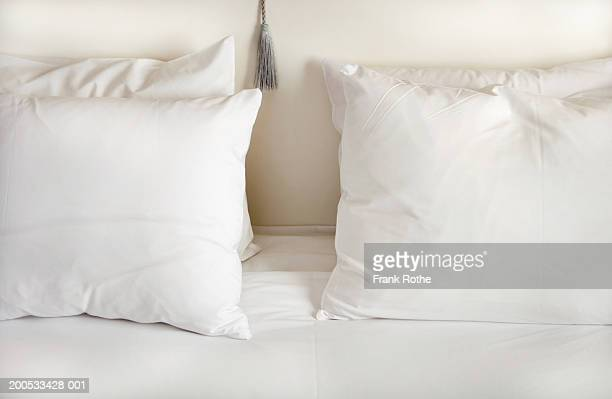 White pillows on bed