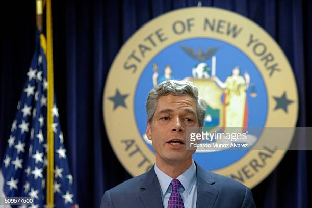 White Plains Mayor Tom Roach speaks at a news conference where New York Attorney General Eric Schneiderman announced enforcement action against...