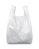 White plastic bag isolated on white with clipping path