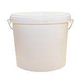 White plastic bucket for food products, paint. 900 ml, 5 kg. Packaging mockup template. Front view, handle up. Isolated on white background. The selected path.
