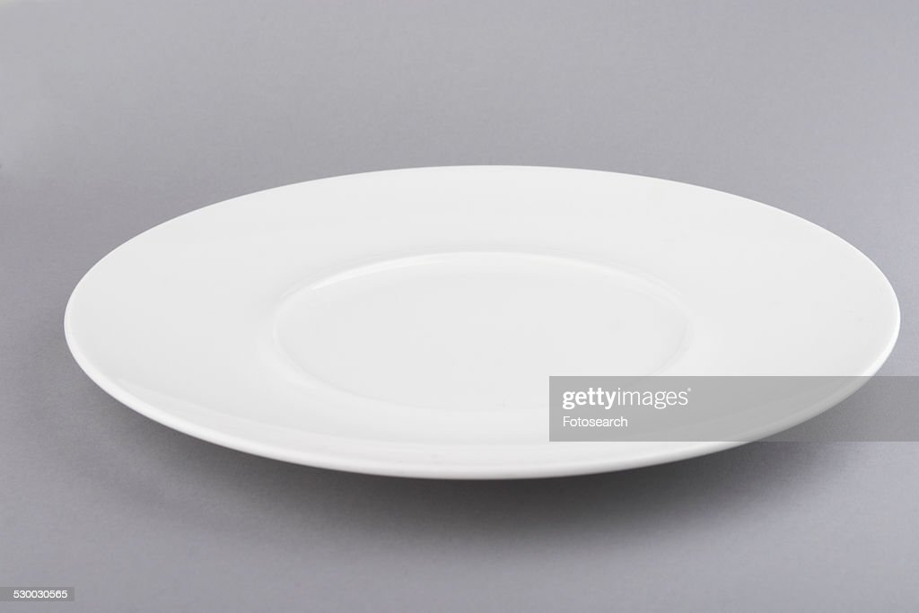 White plate grey background