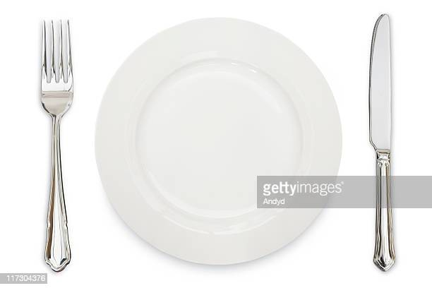 A white plate, knife and fork against a white background