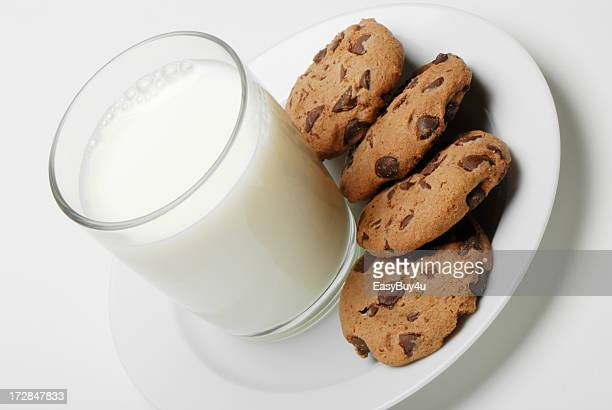 White plate of chocolate chip cookies and a glass of milk