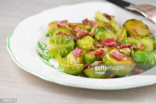 White Plate of Sauteed Brussels Sprouts with Bacon