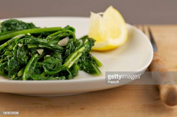White Plate of Sauteed Leafy Greens