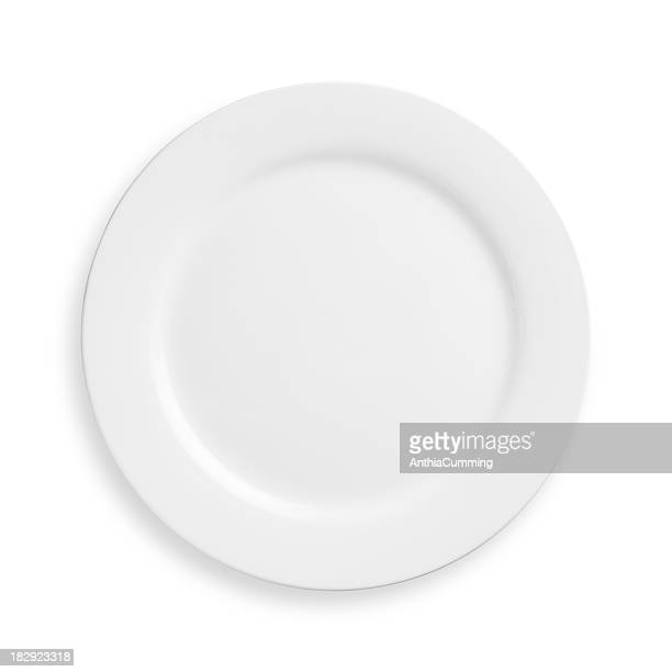 A white plate on a white background
