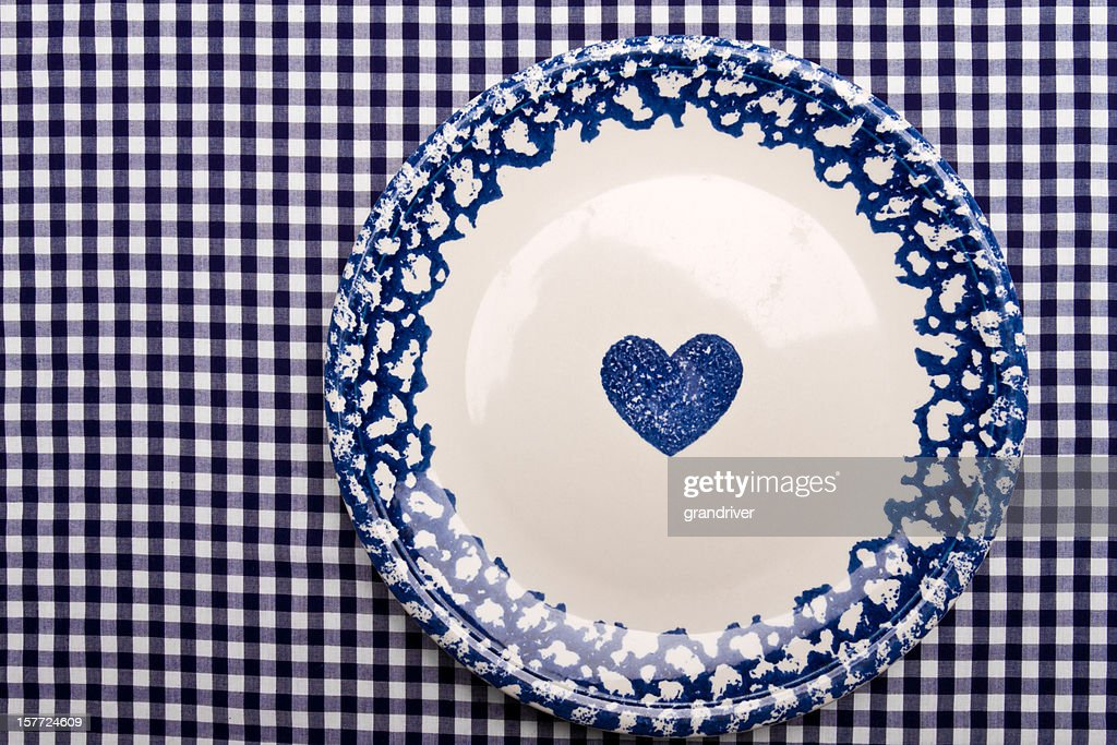 White Plate On Blue Checkered Tablecloth : Stock Photo