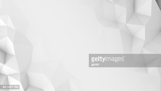 White polygons and free space abstract 3D render background : Stock Photo