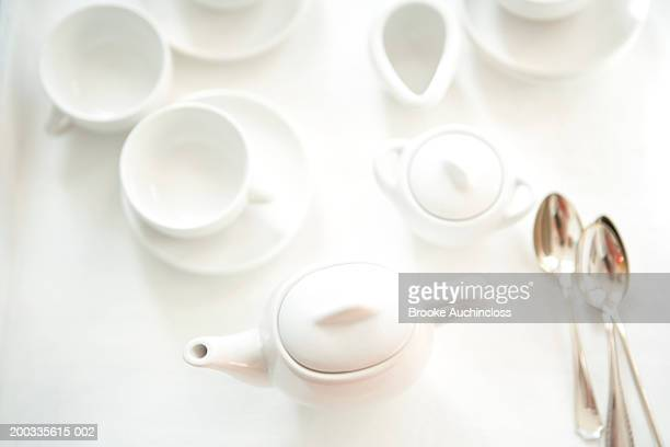 White porcelain toy tea set, elevated view