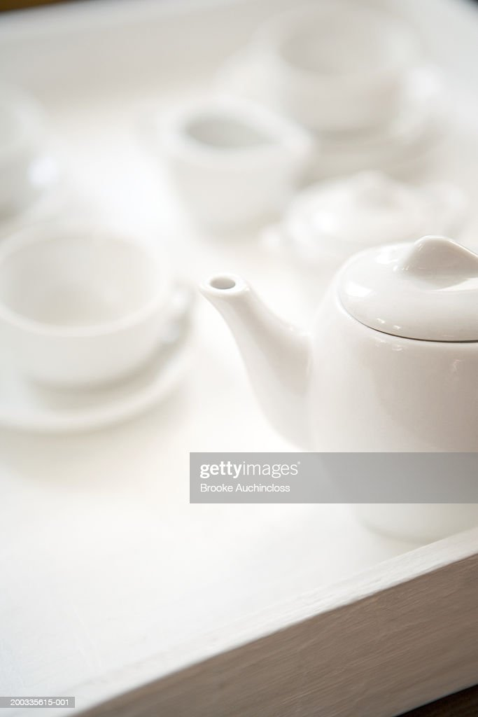 White porcelain toy tea set : Stock Photo