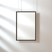 White poster with black frame mockup hanging on the wall with shadows, 3d rendering