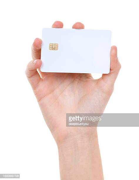 white prepaid card in woman hand