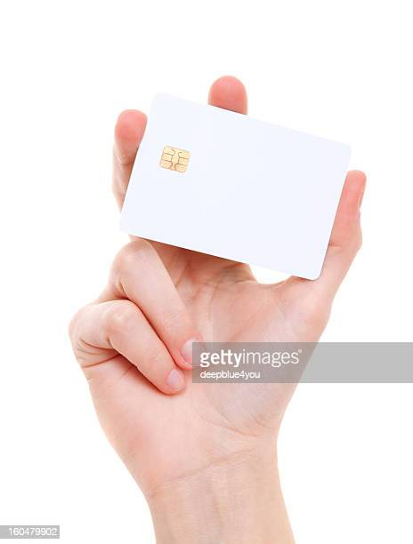 White prepaid card in woman's hand