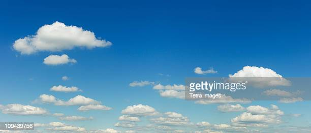 White puffy clouds in sky