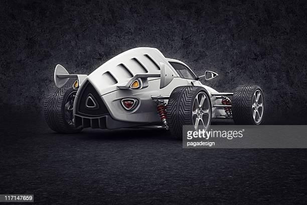 white Rennwagen