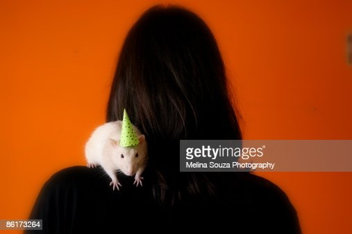 A white rat wearing party hat, sits on woman's shoulder