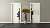 white restroom doors with wall 3D design and rendering for your project