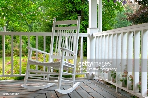 White Rocking Chair on Porch