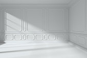 Simple white room interior with sunlight from window, with white decorative classic style molding frames on walls, with flat ceiling and floor and baseboard, 3d illustration