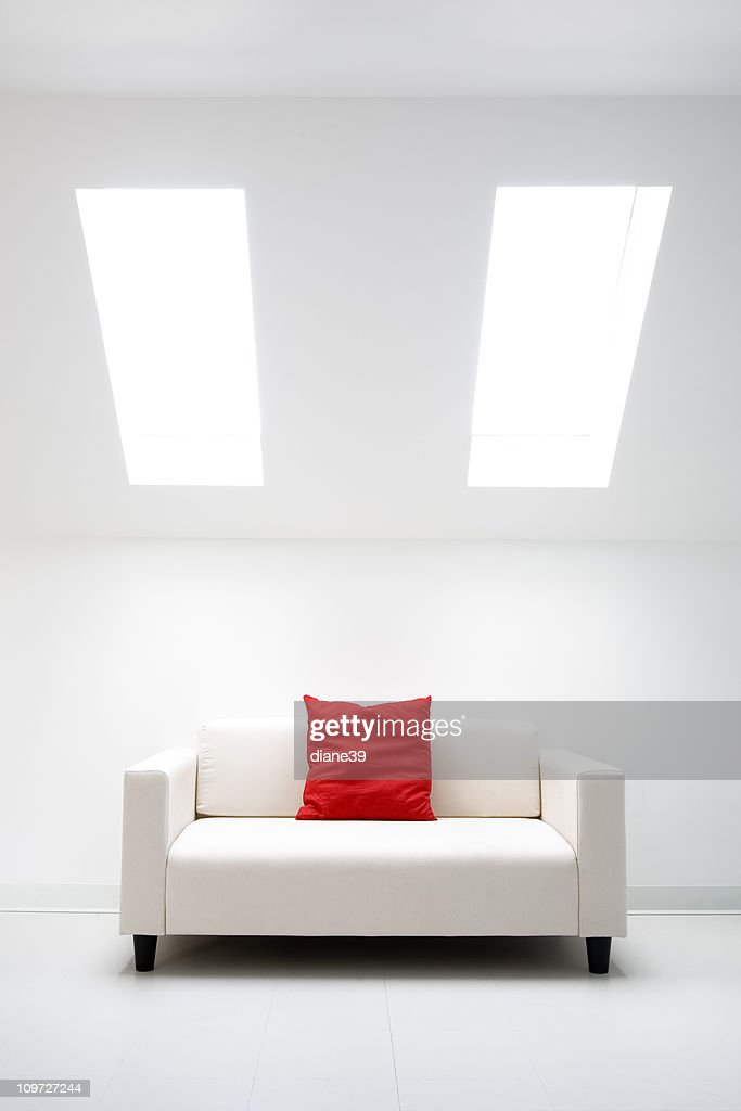 white room with red pillow : Stock Photo