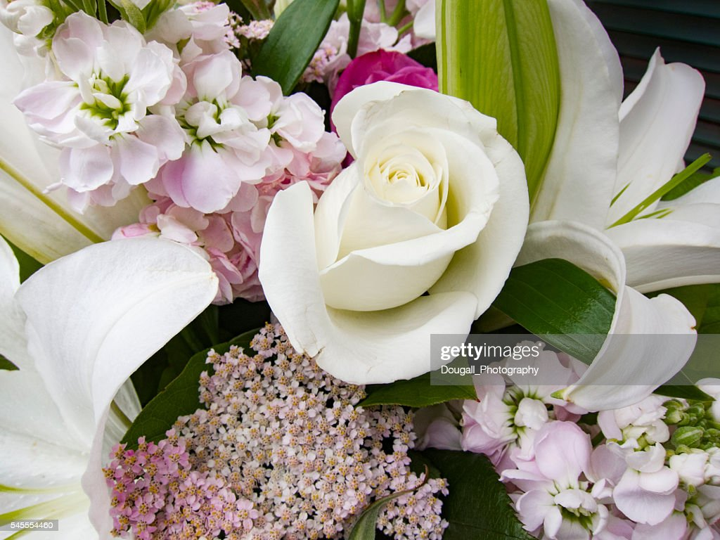 White Rose And Lily Flower Arrangement Stock Photo Getty Images