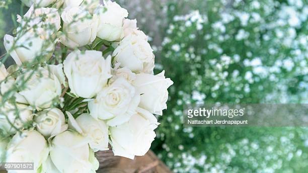 White rose decoration for wedding ceremony