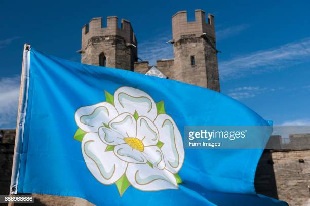 White Rose flag in Warwick Castle associated with the War of the Roses