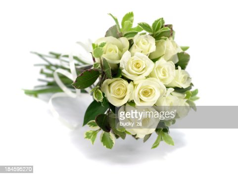 White rose flower bouquet or wedding posy on isolated background