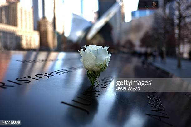 A white rose is seen placed on a name of a 9/11 attacks victim at the National September 11 Memorial in New York on January 23 2015 The National...